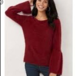 LC by Lauren Conrad burgundy red fuzzy sweater